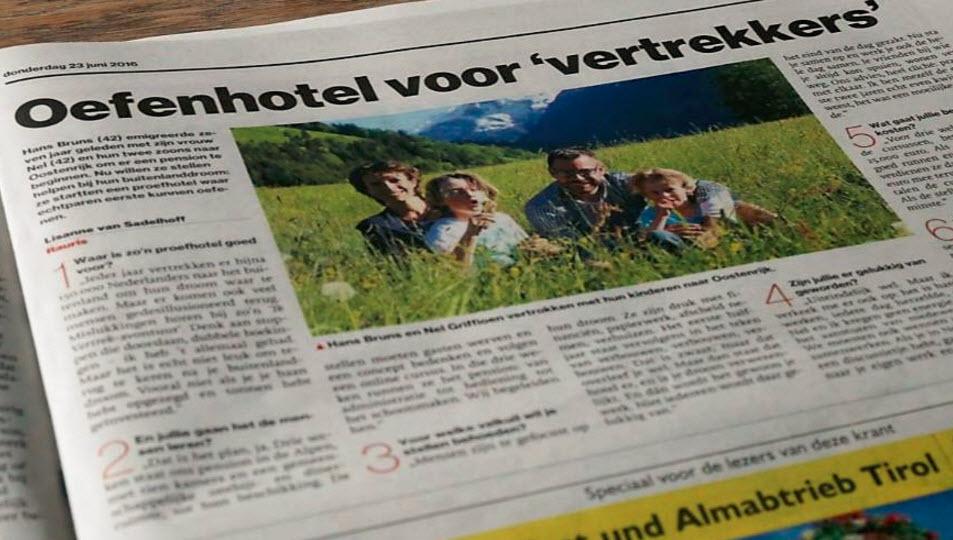 het Proefhotel in het AD Eindhovens Dagblad -23 juni 2016