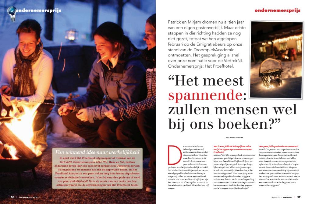 VertrekNL Magazine januari 2017 - Proefhotel 1