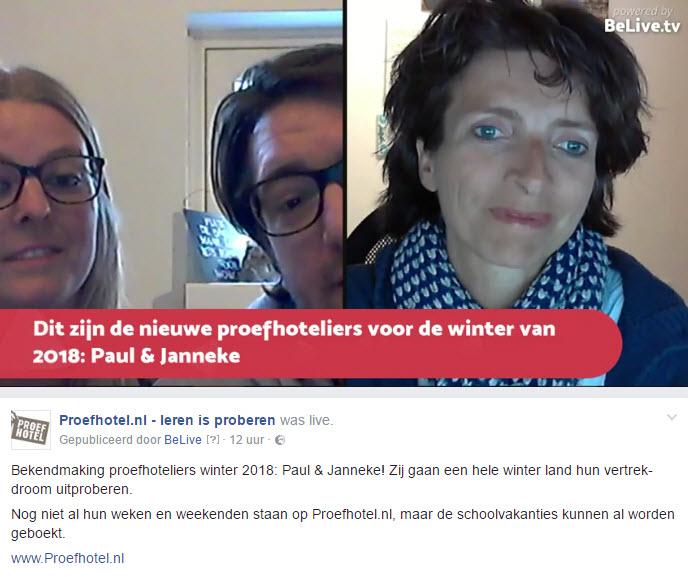 Paul en Janneke Proefhotel Facebook